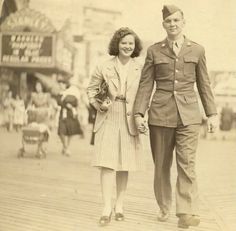 """inthatinstantwewerealive:    woah this is awesome. """"My great-grandparents will be married 70 years next month. Here's the two of them on the Atlantic City Boardwalk in 1945 """""""