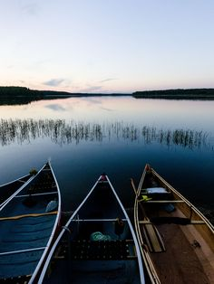 Canoes at Sunset, Knee Lake, Churchill River, Saskatchewan, Canada