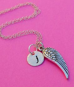 Silver Small Wing Initial Charm Necklace  Angel by SeaSaltShop, $23.00