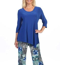 Amy Alder Womens Asymmetrical 3/4 Sleeve Scoop-Neck Tunic Shirt Top travels like a dream! Easy to wash out in a sink and dries fast. Available in yummy black, cobalt blue, jade, fuscia, red, sand, mocha and white to go with everything. Betcha can't just have 1 in your closet!