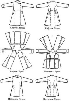 Pattern of Russian male coat II. Interesting dissection of a pattern to study. Costume Patterns, Coat Patterns, Clothing Patterns, Sewing Patterns, Skirt Patterns, Blouse Patterns, Viking Clothing, Diy Clothing, Sewing Clothes