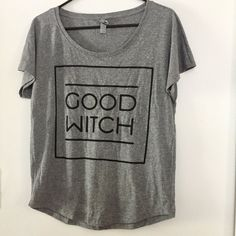 This gorgeous screenprinted shirt features our Good Witch design (see our other listing for Good Witch design) Black ink Super soft Next Level brand Gray shirt - 50% Poly/ 25% Cotton/ 25% Rayon This l