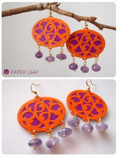 Leaf Paper - Colored Amethyst Arabesque - cotton paper earrings with amethyst