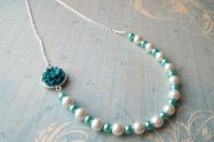 Discount handmade necklaces-$18.00 -Blue Cabochon Beaded Chain Necklace