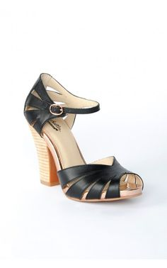Pinup Girl Clothing- Pedal to the Metal Heels in Black Leather | Pinup Girl Clothing