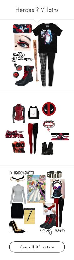 """Heroes ∆ Villains"" by shandy25 ❤ liked on Polyvore featuring DC Comics, DC, harleyquinn, SuicideSquad, art, Boohoo, Christian Louboutin, Rifle Paper Co, Montblanc and Hot Topic"