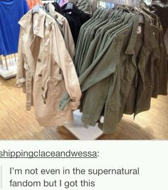 hahaha Cas and Dean clothes Misha Collins Jensen Ackles Supernatural Supernatural Destiel, Castiel, Jensen Ackles, Misha Collins, Jared Padalecki, Dean Winchester, Winchester Brothers, Fandoms, Decimo Doctor
