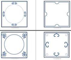 Lege Delfts blauwe tegels. Laat de kinderen met blauw potlood zelf een tekening op het tegeltje maken.