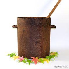 1800s Handmade Cook Pot Giant Cauldron Riveted Steel. For sale at Nachokitty.etsy.com