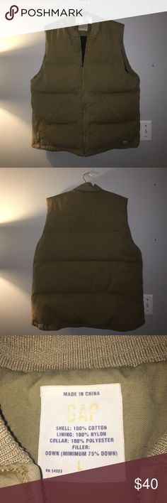 GAP Men's Down Zip Up Vest Medium-Khaki colored, in great condition! 2 pockets on the outside and 1 on the inside. GAP Jackets & Coats Vests