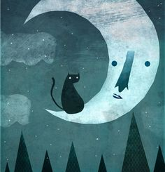 Cat and the Moon by cesarmanuel10