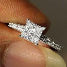 1.25ct Solitaire Princess Cut Diamond Engagement Ring 14k White Gold Bridal #Solitaire