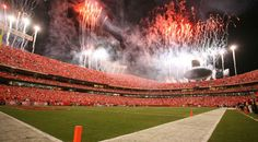 Arrowhead Stadium is home to the Kansas City Chiefs and Chiefs Kingdom. It is one of the most iconic stadiums in the NFL, and holds the world record for the loudest crowd roar at a sports stadium at dbA. Kansas City Chiefs Apparel, Kansas City Chiefs Cheerleaders, Kansas City Attractions, Chiefs Wallpaper, Arrowhead Stadium, City Pride, Red Friday, The Good Place