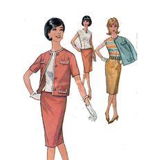 60s ChanelStyle Women's Suit Jacket Blouse Pencil by HoneymoonBus, $9.99