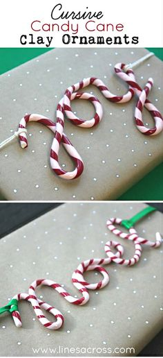 Holiday ● DIY ● Tutorial ● Cursive Candy Cane Clay Ornaments ShopletPromos.com - promotional products for your business.