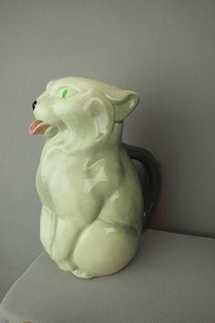 SARREGUEMINES majolica figural cat pitcher,