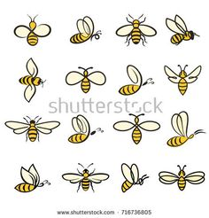 Bees. Set of bee for honey production. insect icons. Flying bee. vector illustration Honey Bee Tattoo, Bumble Bee Tattoo, Honey Bee Drawing, Bee Icon, Honey Logo, Bee Painting, Small Bees, Cute Bee, Bee Art