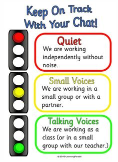 This is just a picture, Signal different classroom noise levels with traffic light colors.