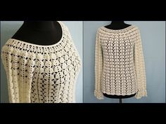 Мастер-класс летней блузы с рукавами. Платный.master class blouse with sleeves.Paid 7$. - YouTube Winter Blouses, Crochet Projects, Crochet Top, Diy And Crafts, Pullover, Quilts, Tops, Women, Fashion