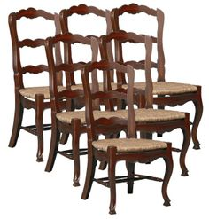 country french mohogany  | Set/6 Solid Mahogany Reproduction French Country Dining Chairs, Hand ...