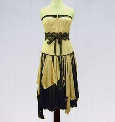 Steampunk Dress- Champagne and Black, Gypsy, Renaissance, Corset, Funky, Boho, Eco Earth Friendly, Upcycled Clothing. $65.00, via Etsy.