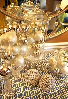 Christmas balls on glass containers