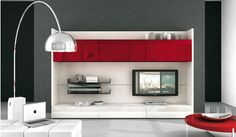 Stylish and Modern TV Wall Units by Alf Da Fre : Red plastic TV wall mount by Alf Da Fre