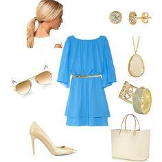 Cornflower dress w/ cream & gold
