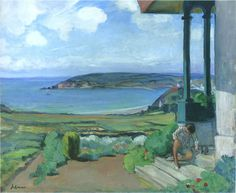 'Garden by the Bay of Morgat', Oil On Canvas by Henri Lebasque (1865-1937, France)
