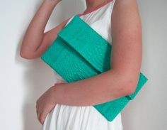 BASIC  Bright Green Seafoam Fold Over Python Snakeskin by linmade, $118.00
