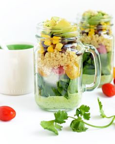Take your salad on the go with this mason jar quinoa salad recipe from Fit Foodie Finds. Shake up layers of fluffy quinoa, black beans, corn kernels, tomatoes and avocado so that each mouthful is w...