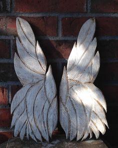 Wooden Angel Wings Wall Art Carved Angel Wings by EmmaKatesDesigns