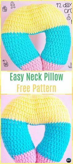 EasyCrochet Neck Pillow Free Pattern - Crochet Travel Neck Pillow Patterns Tutorials