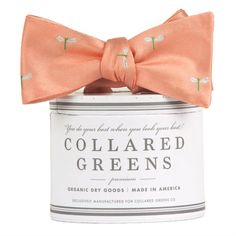 Collared Greens - The Hatch Bow Tie Peach American Made, $55.00 (http://www.collaredgreens.com/products/the-hatch-bow-tie-peach-american-made.html)