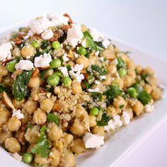 Quinoa, Chickpea Lemon Herb Feta Salad
