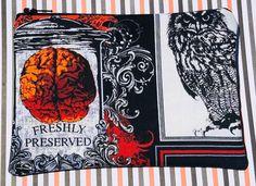 Freshly Preserved Brains Zipper Pouch: Owl, Spiders, Spiderwebs, Witches Brew, Halloween.
