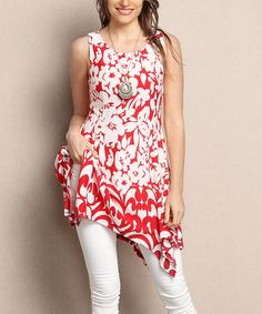 This Red & White Floral Sleeveless Handkerchief Tunic - Plus is perfect! #zulilyfinds