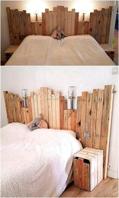 If you are a beginner in wood crafting and looking to design a wonderful but an easy project for changing the dull appearance of your wooden bed, then craft this wooden bed headboard with lights on top. Its rustic beauty is simply letting the entire envir Wood Pallet Beds, Wood Pallet Furniture, Wood Beds, Wood Pallets, Bed Headboard Wooden, Headboard With Lights, Headboards For Beds, Pallet Bed With Lights, Headboard Ideas