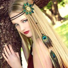 Items similar to Peacock Eyes Flower hippie boho headband on Etsy - hippie style Boho Hippie, Hippie Style, Bohemian Hair, Gypsy Style, Boho Headband, Feather Headband, Headbands, Knotted Headband, Headband Hair