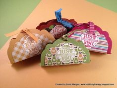Is this simply the ultimate stocking stuffer? Or perhaps a quick and simple thank you gift for a host or hostess? Bobbi Mangas, today's guest stamper and a member of my Stampin' Pretty Pals created these little cuties using the Stampin' Up! Labels Collection Framelits Dies.
