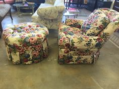 Lovely floral chair and ottoman all for $250 #furniture #forsale #sale #floral #lovely #cheap #comfort #home #design #chair #ottoman #design #decor #livingroom
