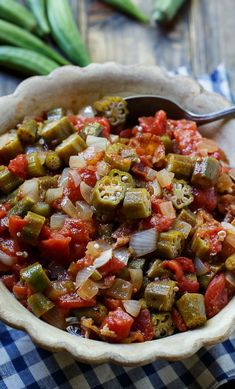 This Okra Recipe List Will Turn Any Hater into a BelieverYou can find Okra and more on our website.This Okra Recipe List Will Turn Any Hater into a Believer Vegetable Side Dishes, Vegetable Recipes, Veggie Food, Antipasto, Okra And Tomatoes, Stuffed Tomatoes, Cooking Recipes, Healthy Recipes, Vegetarian Cooking