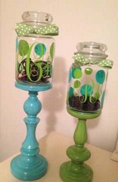 Made these for my daughter using candlesticks and old Yankee candle jars