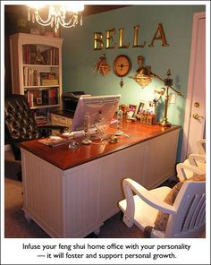 Check out this cool Feng Shui Home Office. You should feel inspired, productive, and powerful in your office. An organized office and desk enhances your creativity, discipline and success; allows room for new ideas; and enables you to make decisions. Feng Shui Home Office, Home Office Space, Home Office Design, Home Office Decor, House Design, Home Decor, Office Ideas, Design Room, Desk Ideas