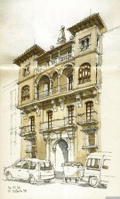 Подборка архитектурных зарисовок выполненных испанским архитектором Луисом Руисом из города Малага.
