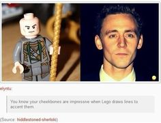 Tom Hiddleston... You know your cheekbones are impressive when Lego draws lines to accentuate them.