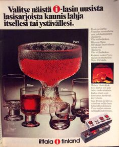 Good Old Times, Lassi, Glass Design, Vintage Ads, Finland, Beautiful Things, 1970s, Scandinavian, Alcoholic Drinks