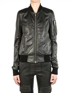 RICK OWENS FW14 MOODY CASHMERE-LINED CROPPED FLIGHT BOMBER
