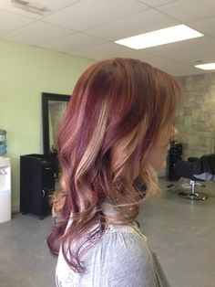 Mahogany red with caramel and dark red violet highlights and lowlights , color by Asheton Silvers