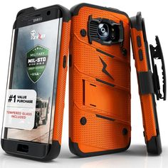 Zizo BOLT Super Defender Samsung Galaxy S7 Edge Case - Orange/Black